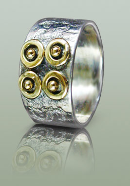 Mand silver ring with Magic eye motifs