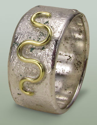 Mans silver handcrafted ring with snake motif